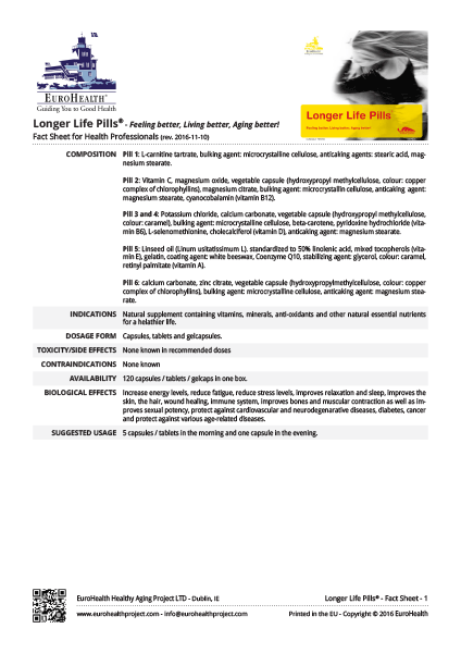 Longer Life Pills Factsheets