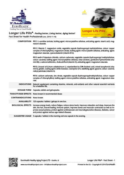 Longer Life Pills Factsheets