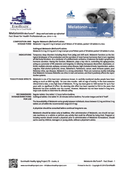 Melatonin - BioTonin Factsheets
