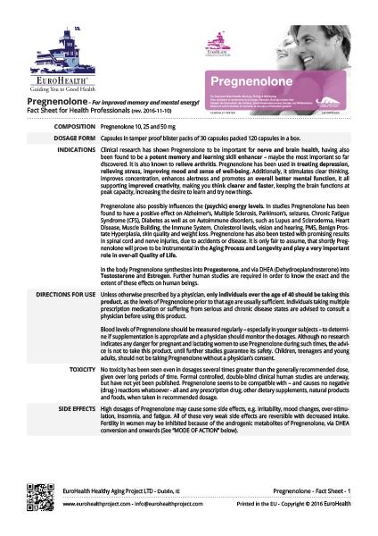 Pregnenolone Factsheets