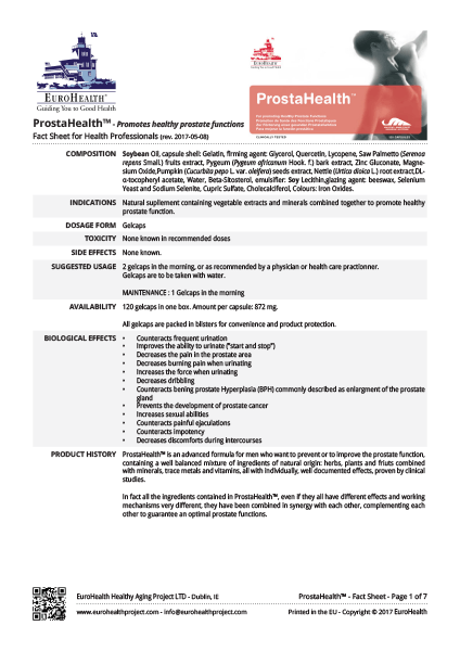 ProstaHealth Factsheets